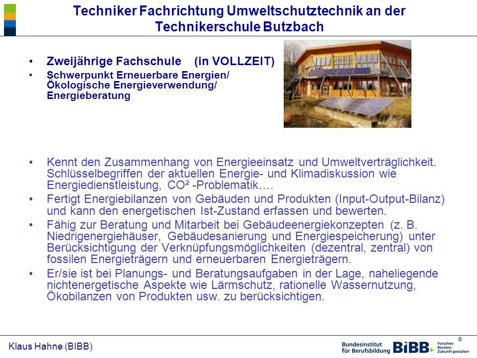Techniker Fachrichtung Umweltschutztechnik an der Technikerschule Butzbach