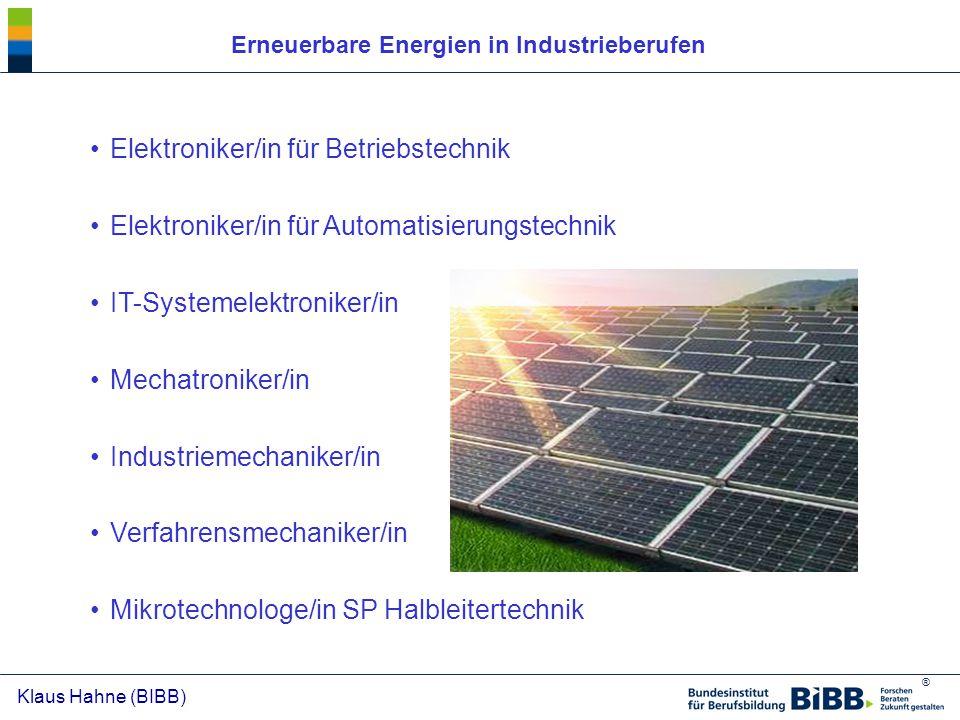 Erneuerbare Energien in Industrieberufen
