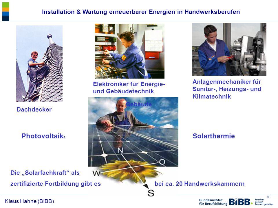 Installation & Wartung erneuerbarer Energien in Handwerksberufen