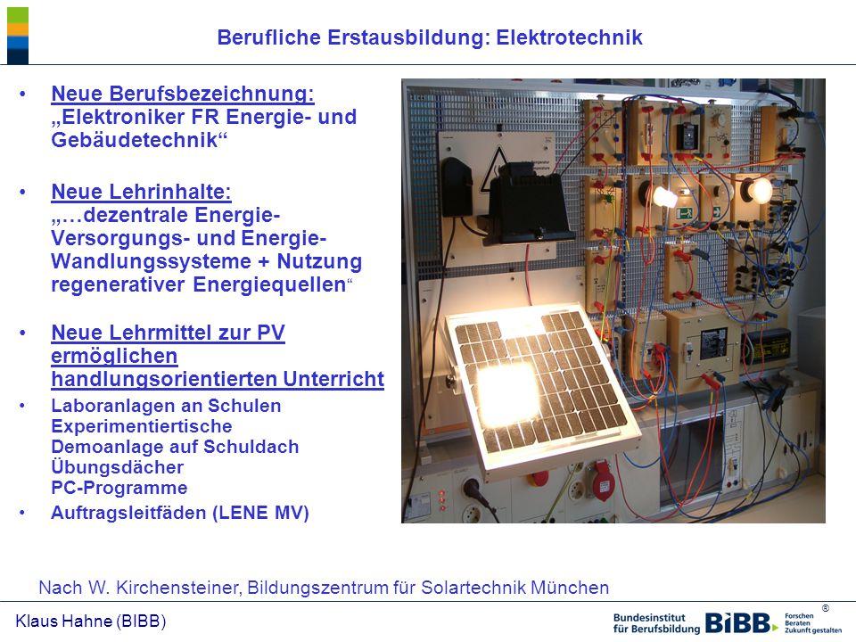 Berufliche Erstausbildung: Elektrotechnik