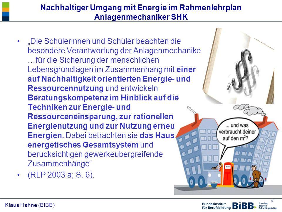 Nachhaltiger Umgang mit Energie im Rahmenlehrplan Anlagenmechaniker SHK