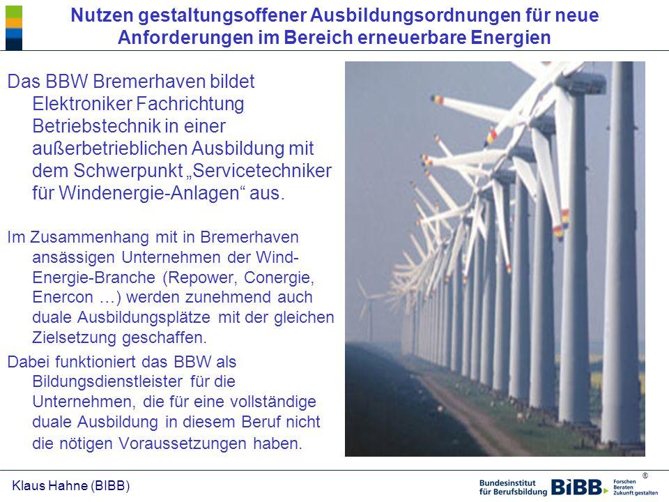Nutzen gestaltungsoffener Ausbildungsordnungen für neue Anforderungen im Bereich erneuerbare Energien