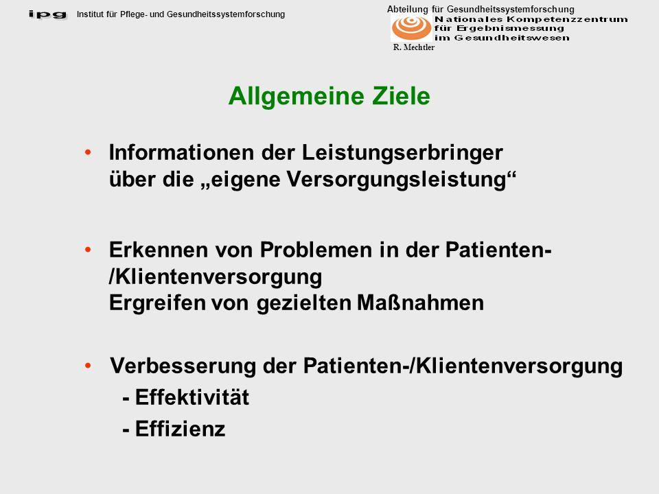 Allgemeine Ziele Informationen der Leistungserbringer