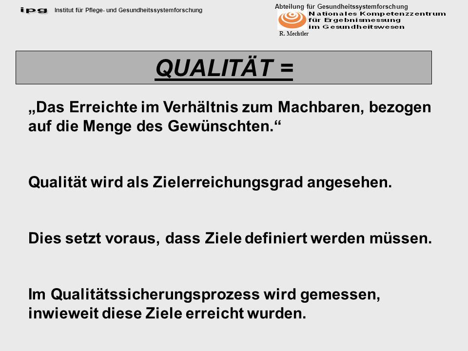 """QUALITÄT = """"Das Erreichte im Verhältnis zum Machbaren, bezogen auf die Menge des Gewünschten. Qualität wird als Zielerreichungsgrad angesehen."""