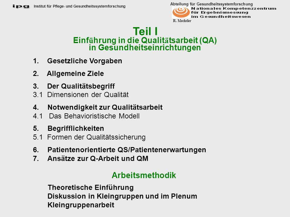 Teil I Einführung in die Qualitätsarbeit (QA)