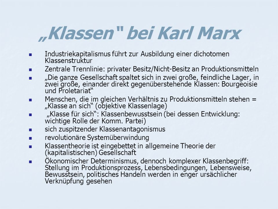 """Klassen bei Karl Marx"