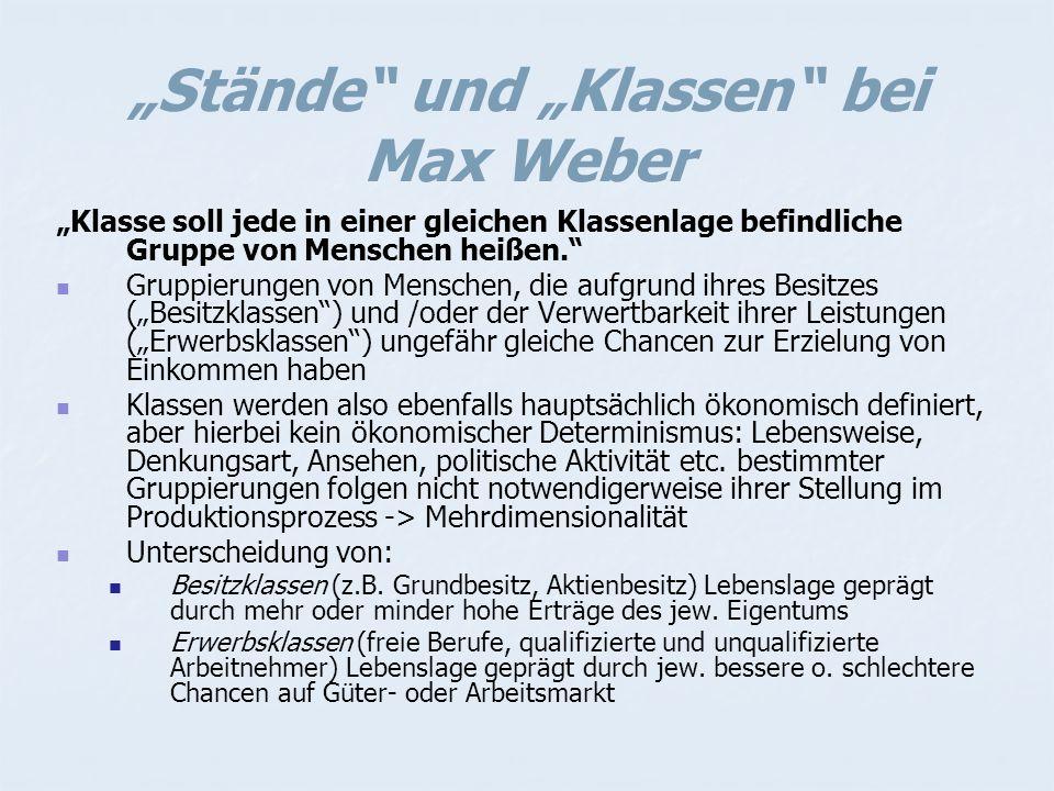 """""""Stände und """"Klassen bei Max Weber"""