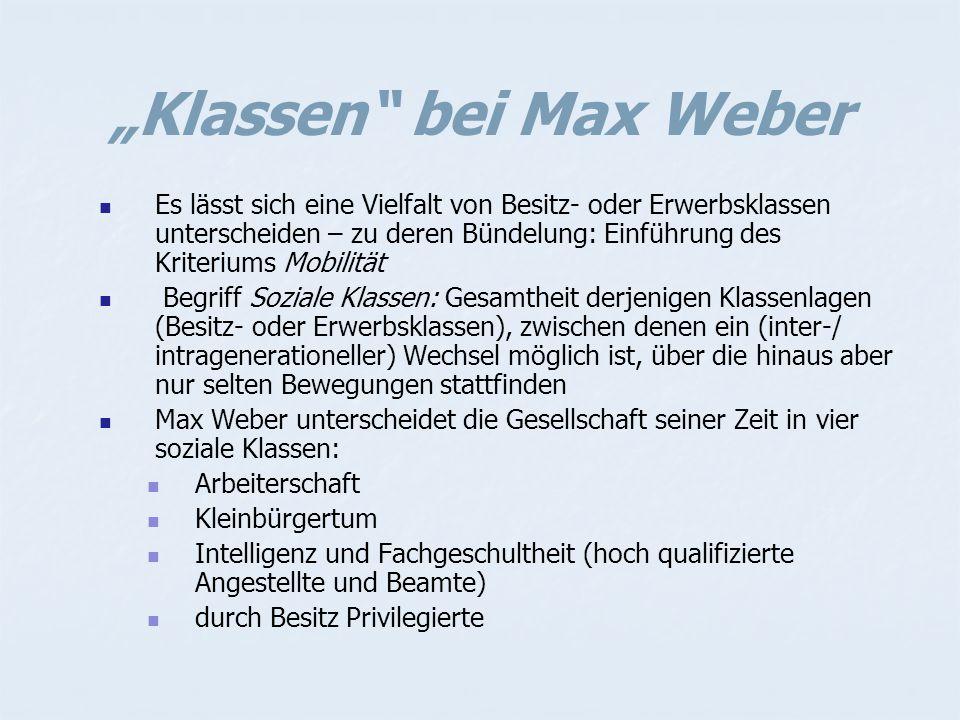 """""""Klassen bei Max Weber"""