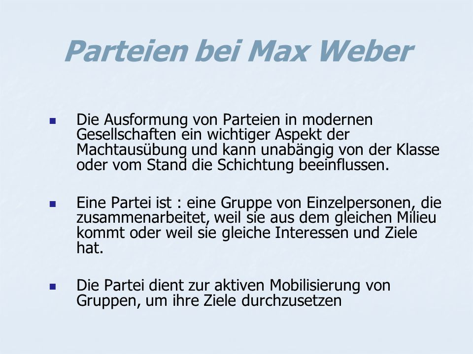 Parteien bei Max Weber