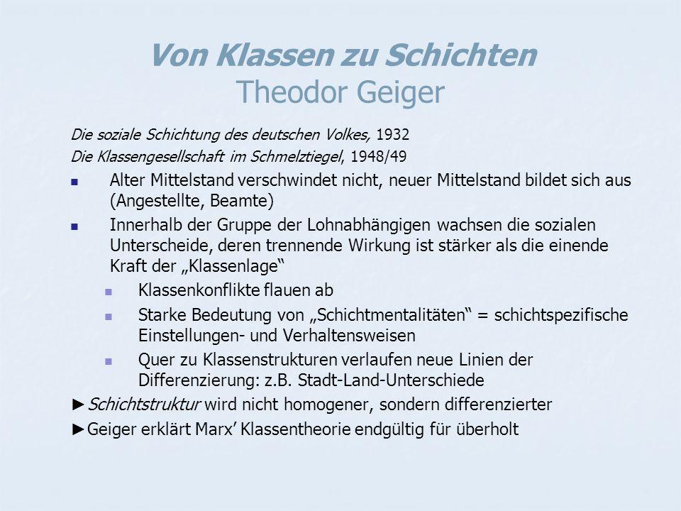 Von Klassen zu Schichten Theodor Geiger