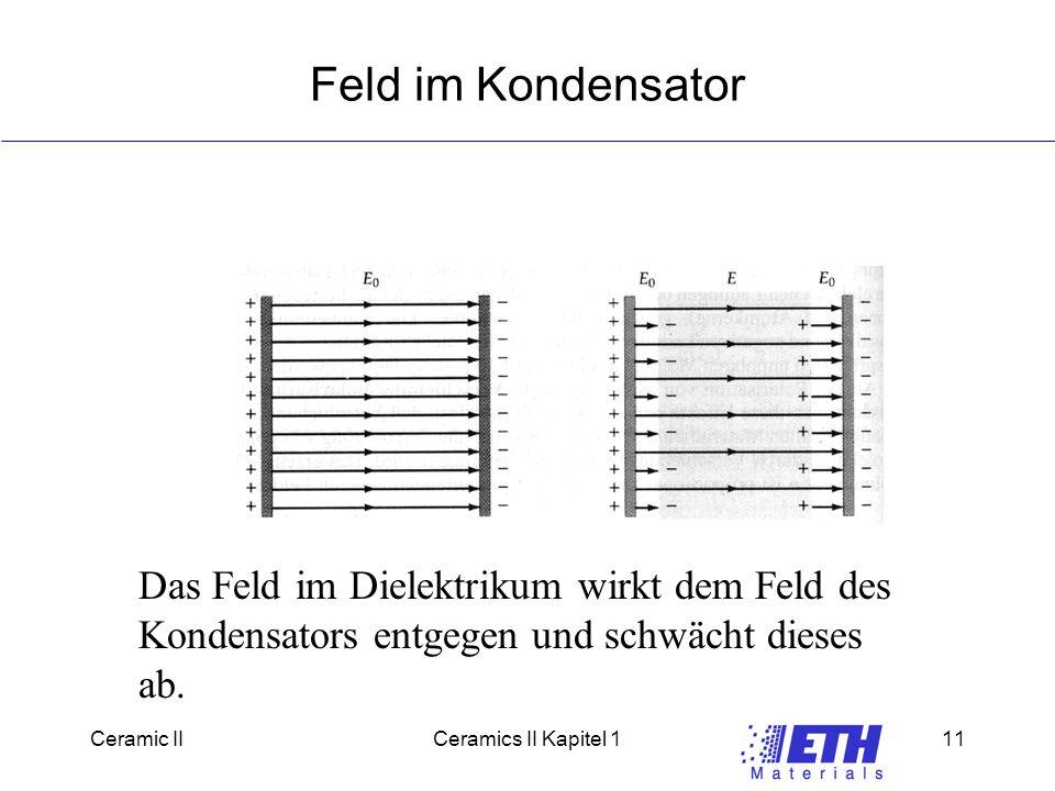 Feld im Kondensator Das Feld im Dielektrikum wirkt dem Feld des Kondensators entgegen und schwächt dieses ab.
