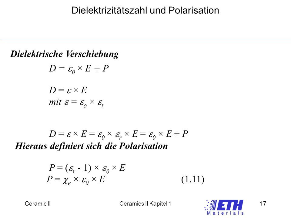 Dielektrizitätszahl und Polarisation