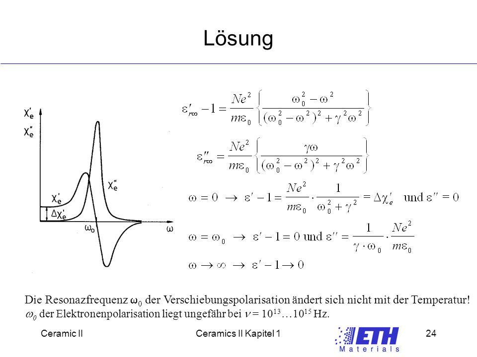 Lösung Die Resonazfrequenz w0 der Verschiebungspolarisation ändert sich nicht mit der Temperatur!