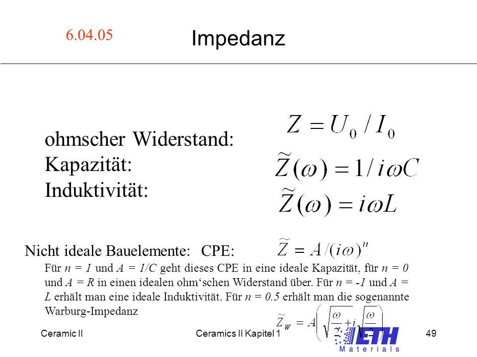 Impedanz ohmscher Widerstand: Kapazität: Induktivität: 6.04.05