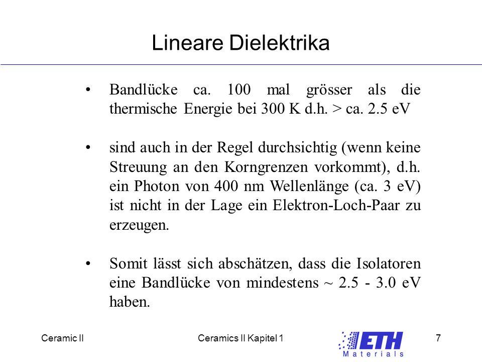 Lineare Dielektrika Bandlücke ca. 100 mal grösser als die thermische Energie bei 300 K d.h. > ca. 2.5 eV.