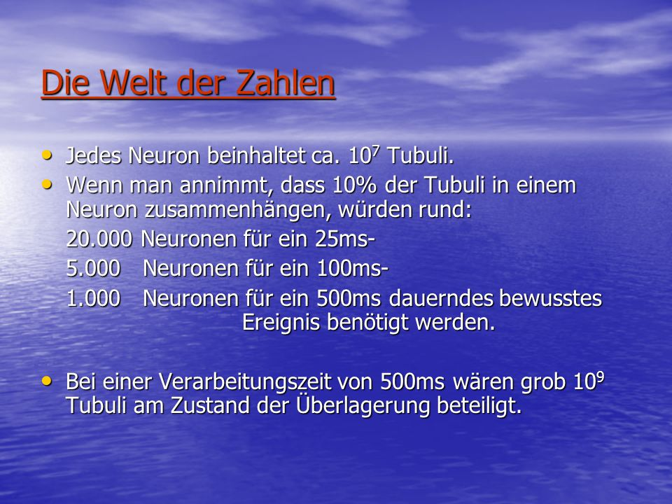 Die Welt der Zahlen Jedes Neuron beinhaltet ca. 107 Tubuli.