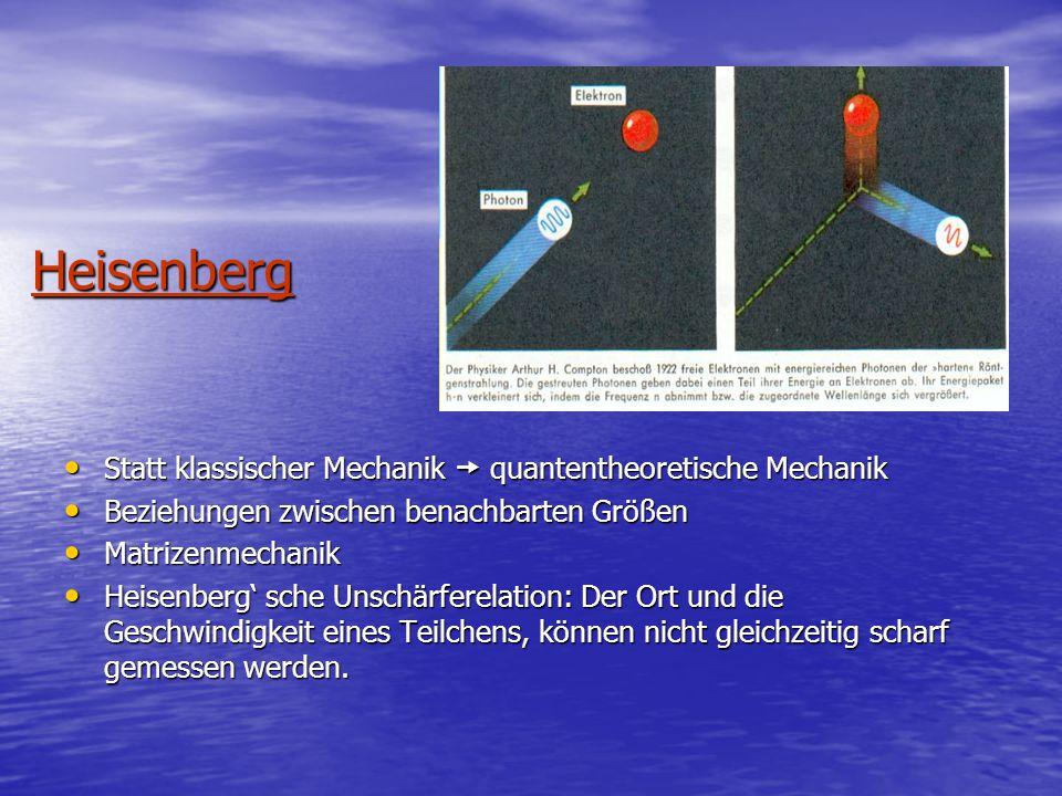 Heisenberg Statt klassischer Mechanik  quantentheoretische Mechanik