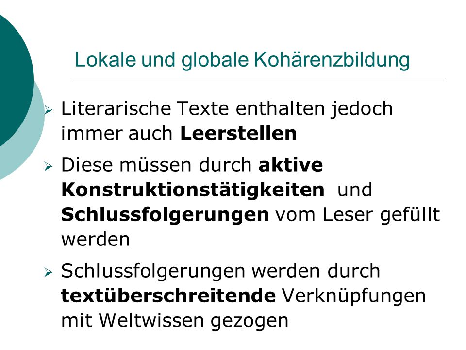 Lokale und globale Kohärenzbildung