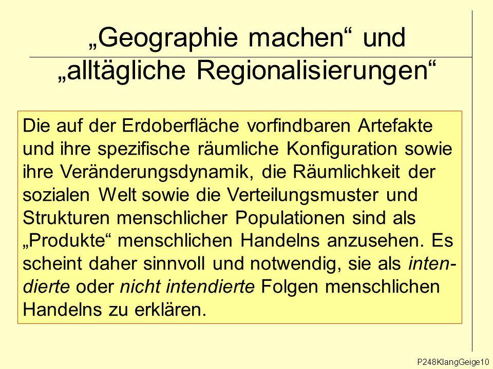 """""""Geographie machen und """"alltägliche Regionalisierungen"""