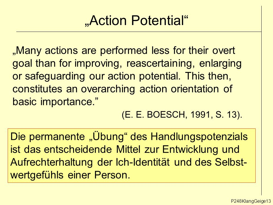 """Action Potential ""Many actions are performed less for their overt"
