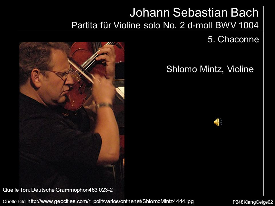 Johann Sebastian Bach Partita für Violine solo No. 2 d-moll BWV 1004 5