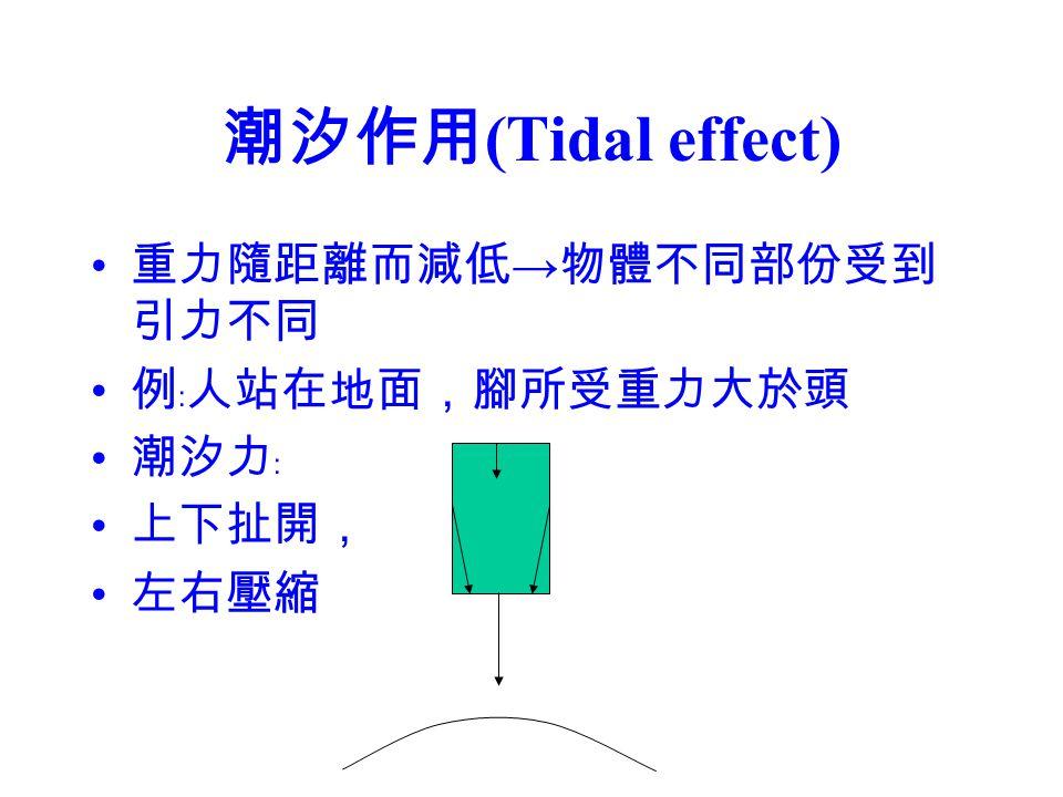 潮汐作用(Tidal effect) 重力隨距離而減低→物體不同部份受到引力不同 例﹕人站在地面,腳所受重力大於頭 潮汐力﹕ 上下扯開,