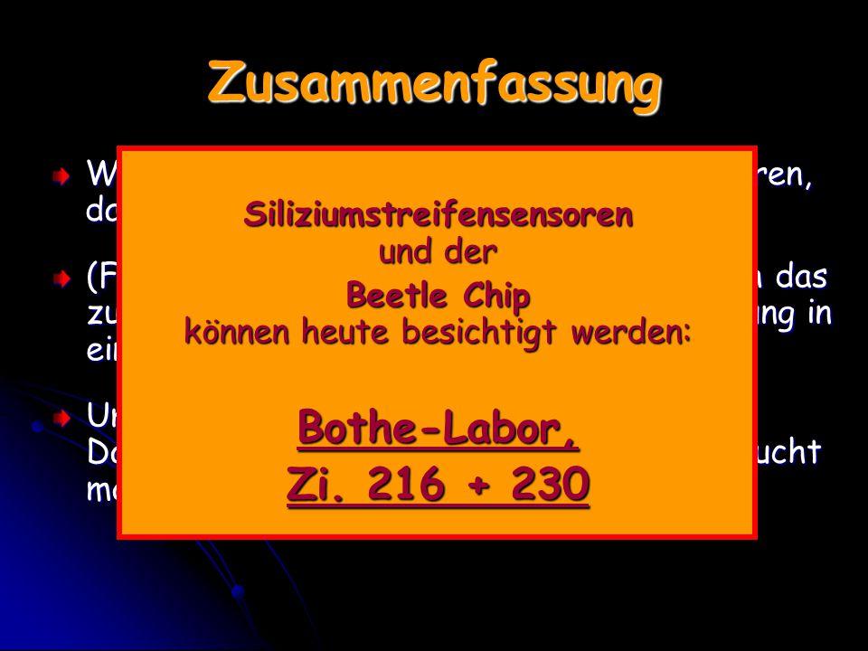 Zusammenfassung Bothe-Labor, Zi. 216 + 230