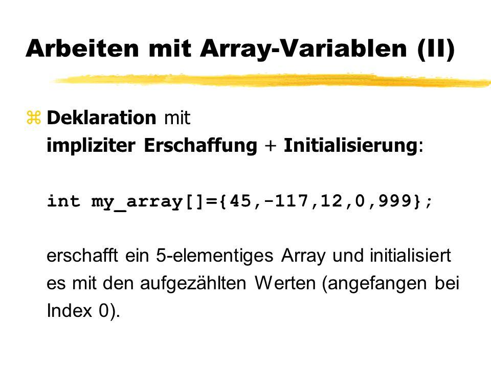 Arbeiten mit Array-Variablen (II)