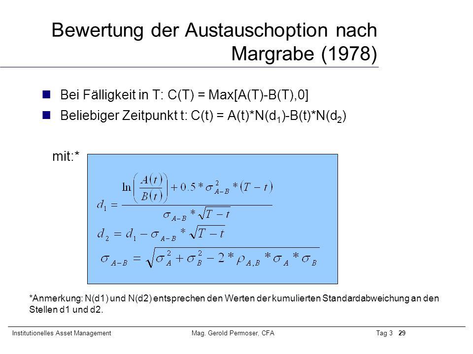 Bewertung der Austauschoption nach Margrabe (1978)