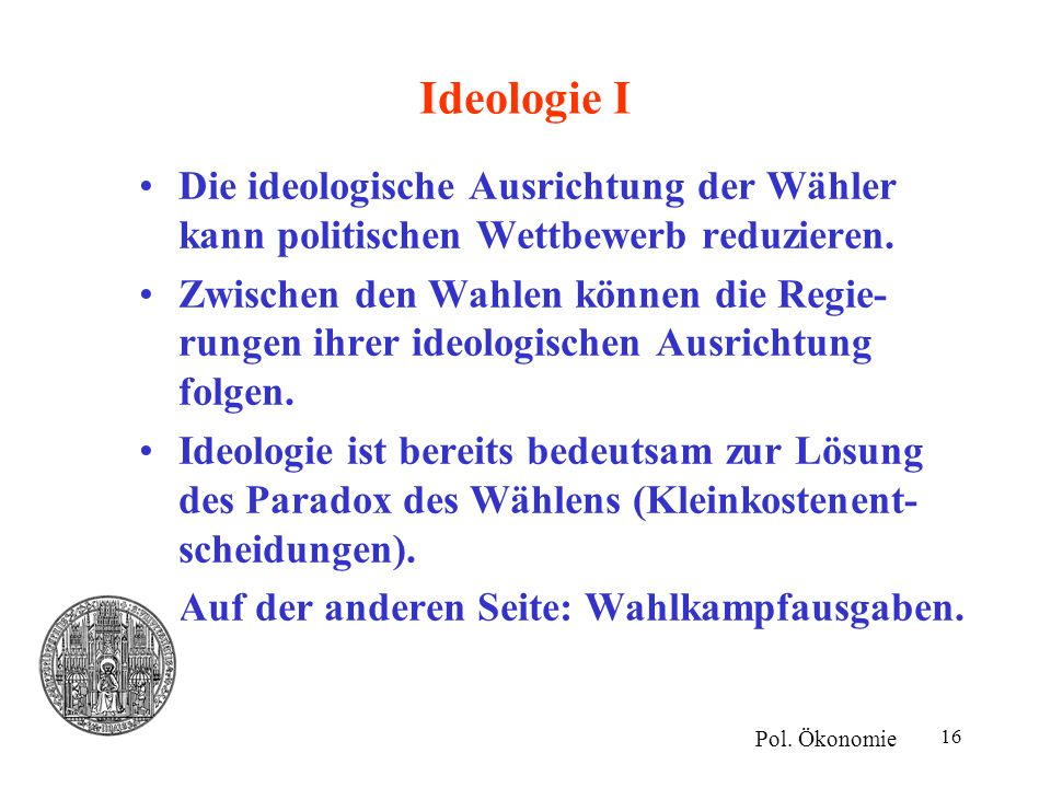 Ideologie I Die ideologische Ausrichtung der Wähler kann politischen Wettbewerb reduzieren.