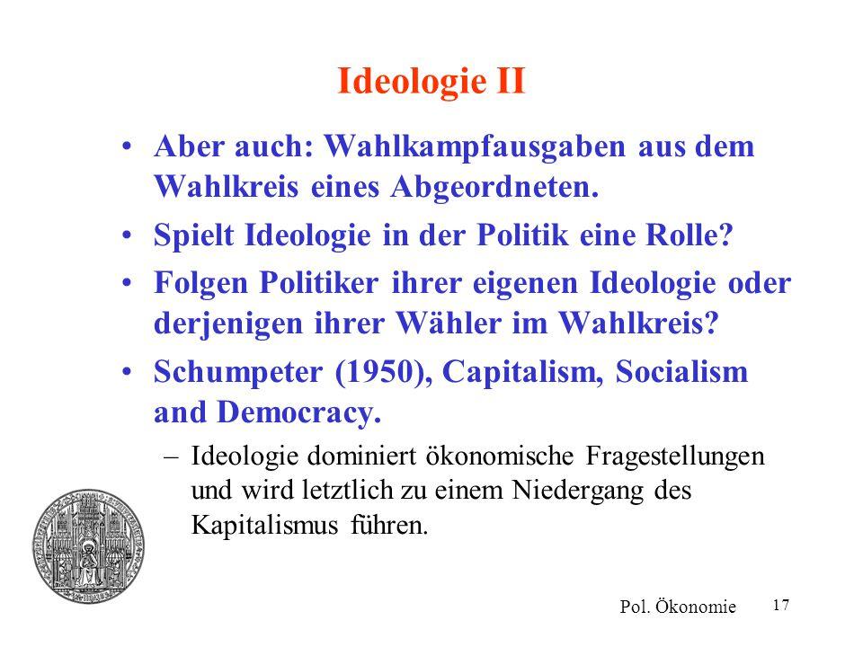 Ideologie II Aber auch: Wahlkampfausgaben aus dem Wahlkreis eines Abgeordneten. Spielt Ideologie in der Politik eine Rolle