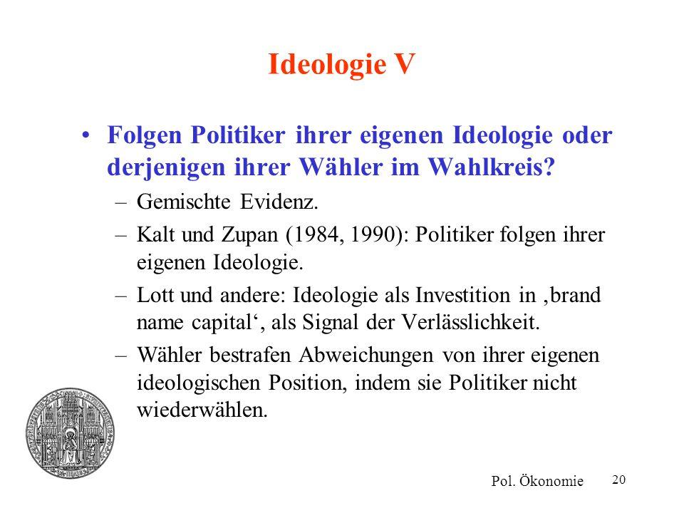 Ideologie V Folgen Politiker ihrer eigenen Ideologie oder derjenigen ihrer Wähler im Wahlkreis Gemischte Evidenz.