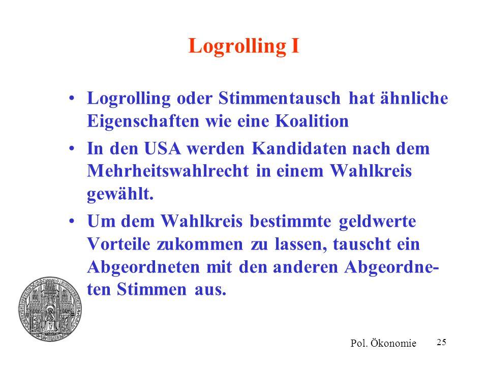 Logrolling I Logrolling oder Stimmentausch hat ähnliche Eigenschaften wie eine Koalition.