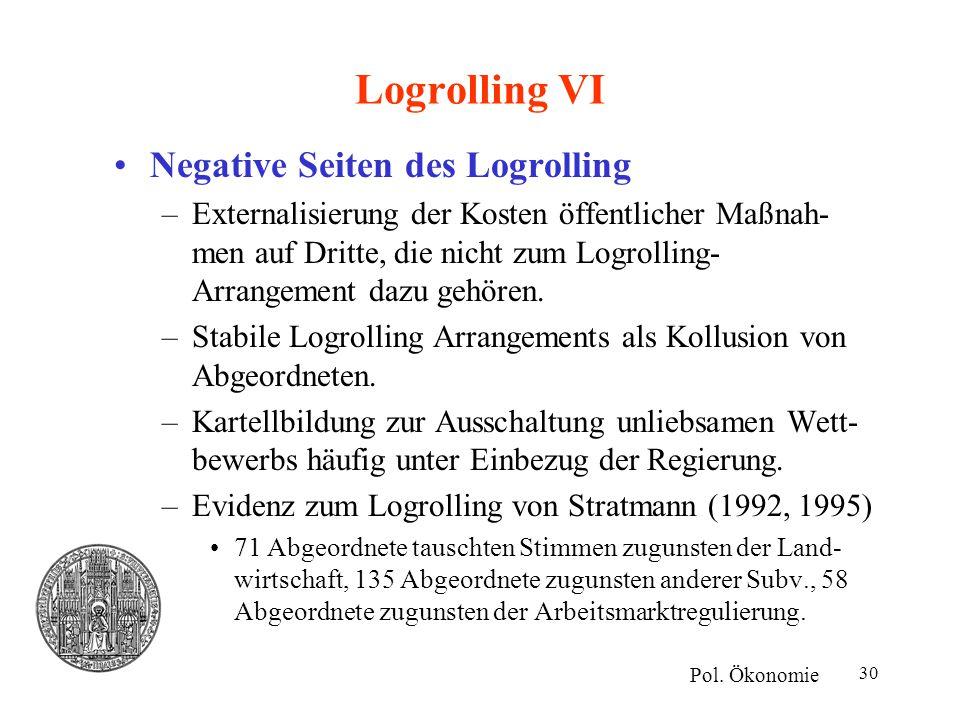 Logrolling VI Negative Seiten des Logrolling