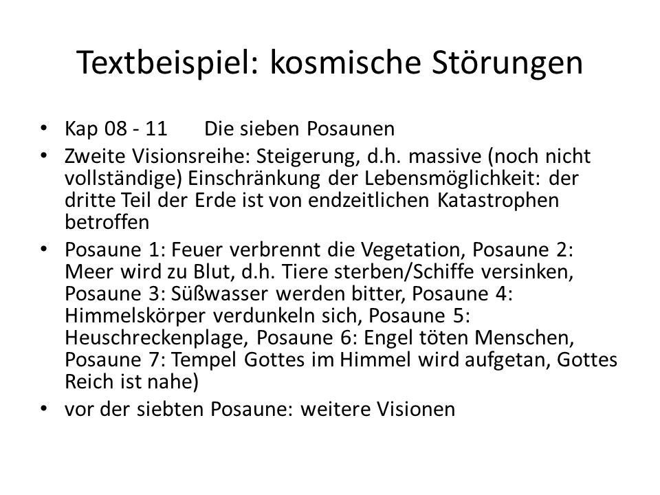 Textbeispiel: kosmische Störungen