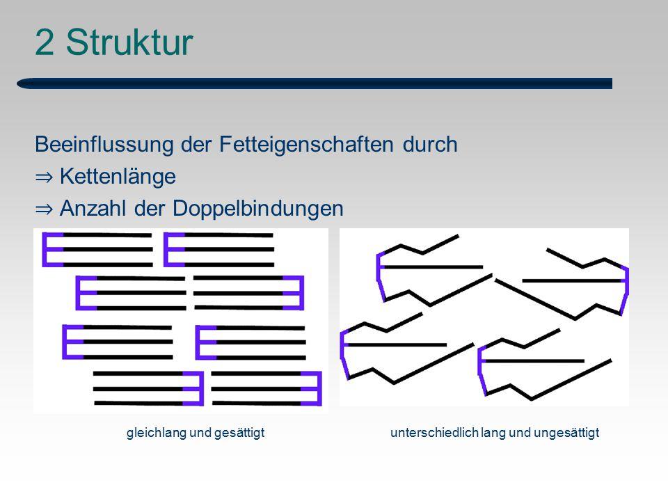 2 Struktur Beeinflussung der Fetteigenschaften durch ⇒ Kettenlänge