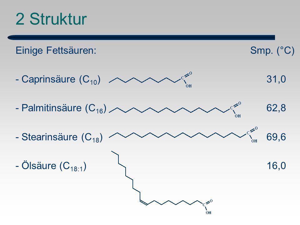 2 Struktur Einige Fettsäuren: Smp. (°C) - Caprinsäure (C10) 31,0