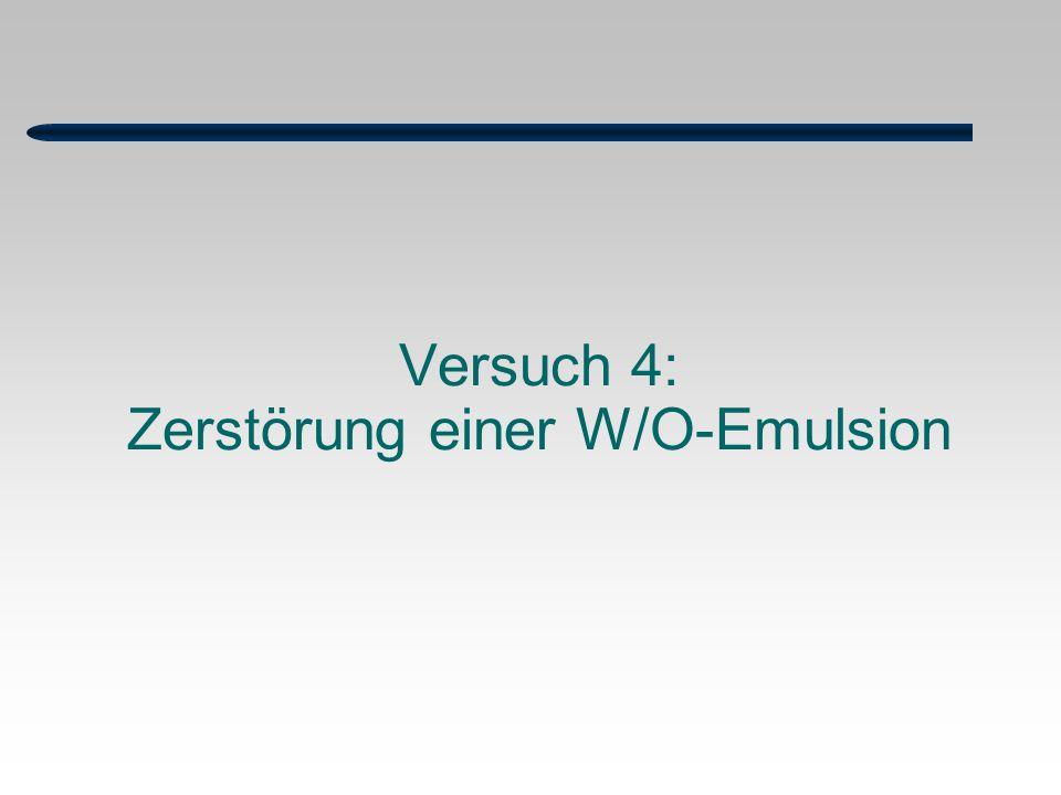 Versuch 4: Zerstörung einer W/O-Emulsion