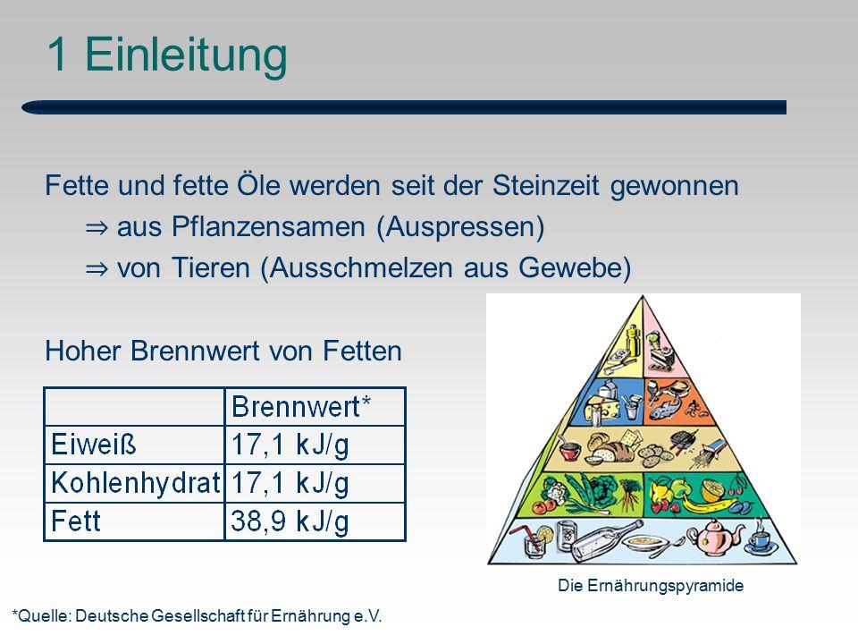 1 Einleitung Fette und fette Öle werden seit der Steinzeit gewonnen