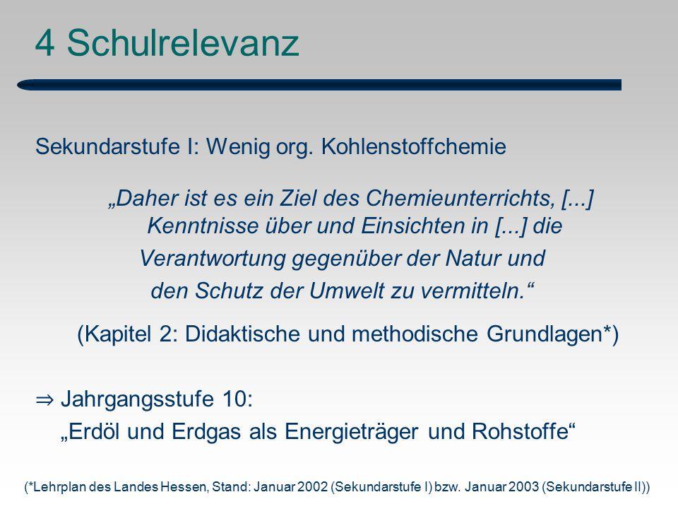 4 Schulrelevanz Sekundarstufe I: Wenig org. Kohlenstoffchemie