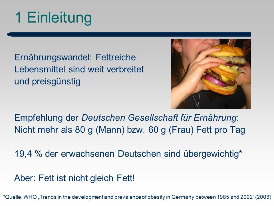1 Einleitung Ernährungswandel: Fettreiche