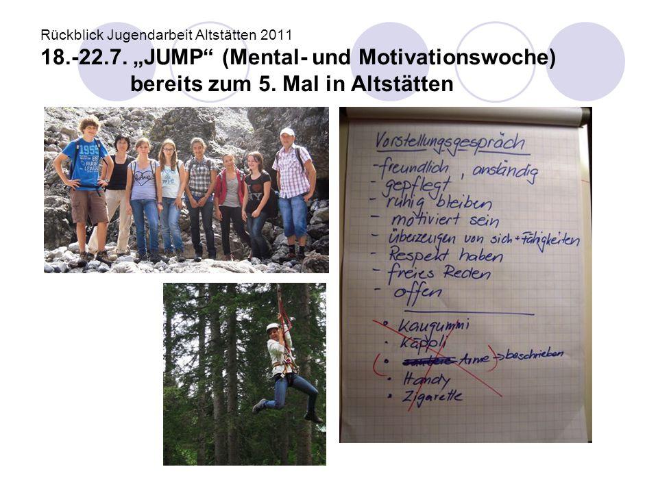 Rückblick Jugendarbeit Altstätten 2011 18. -22. 7