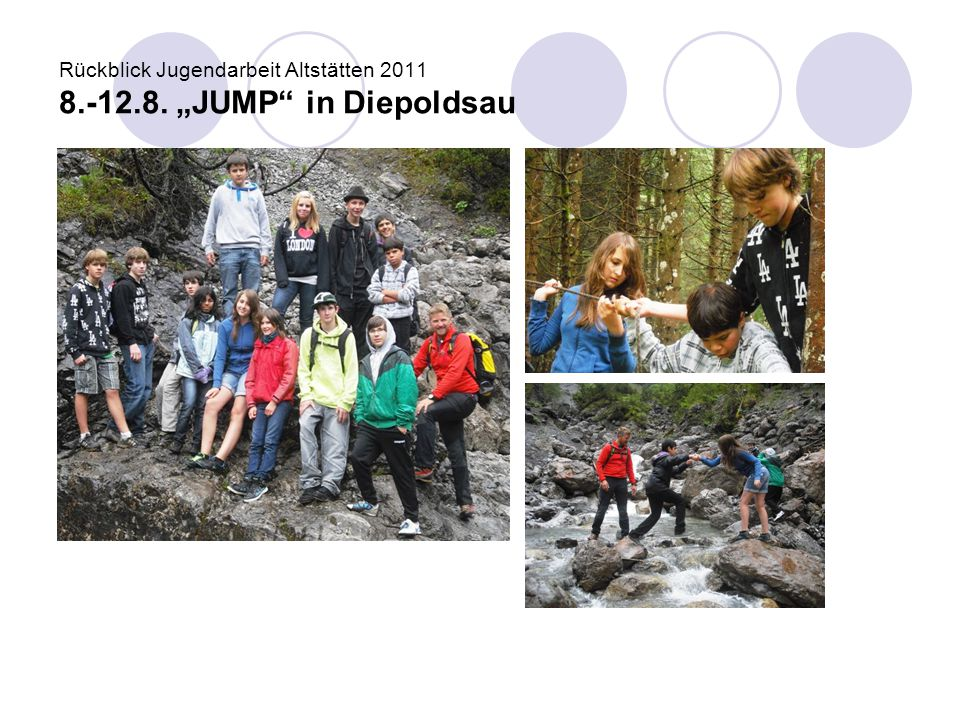 "Rückblick Jugendarbeit Altstätten 2011 8.-12.8. ""JUMP in Diepoldsau"