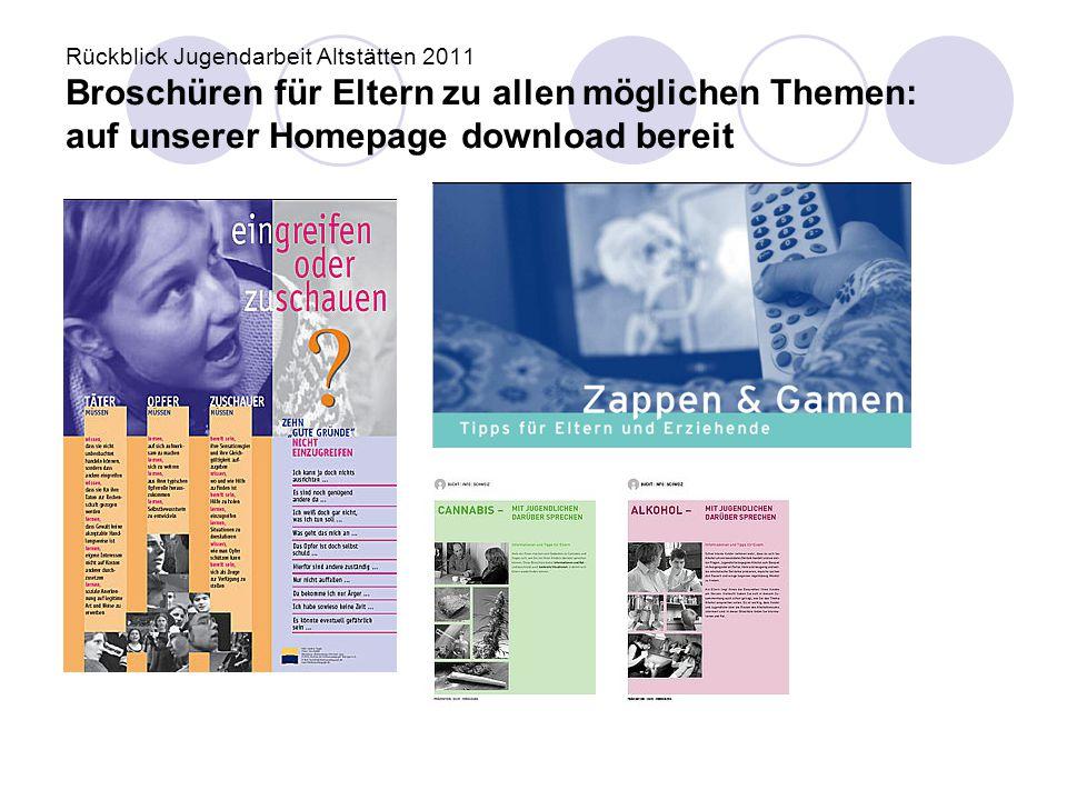 Rückblick Jugendarbeit Altstätten 2011 Broschüren für Eltern zu allen möglichen Themen: auf unserer Homepage download bereit