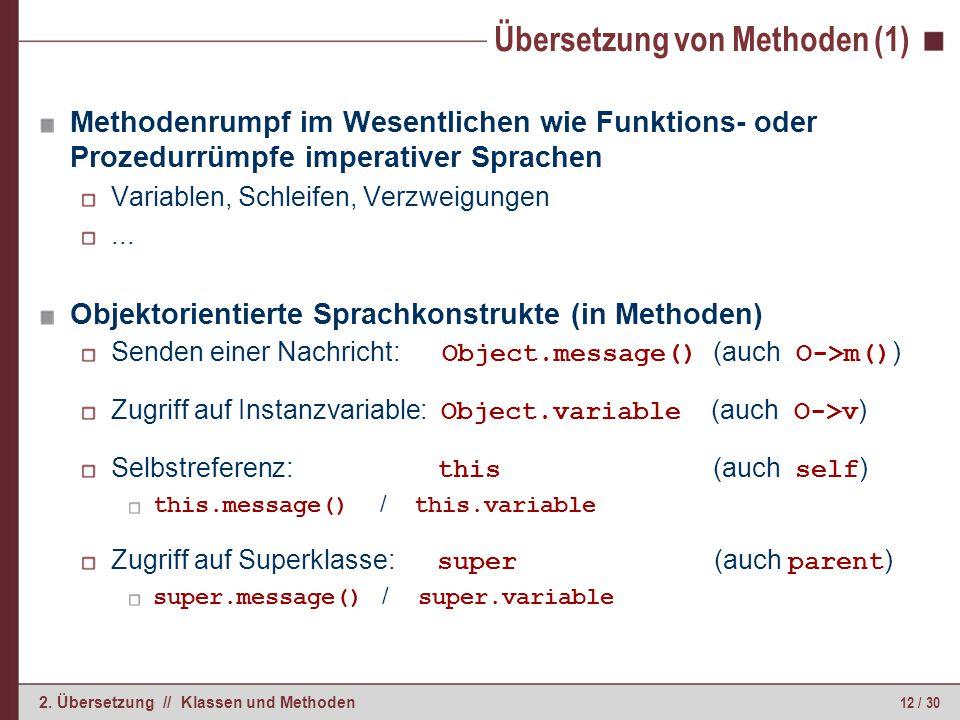 Übersetzung von Methoden (2)