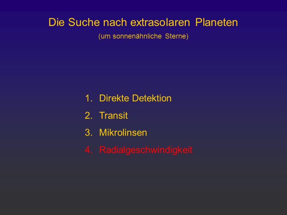 Die Suche nach extrasolaren Planeten (um sonnenähnliche Sterne)