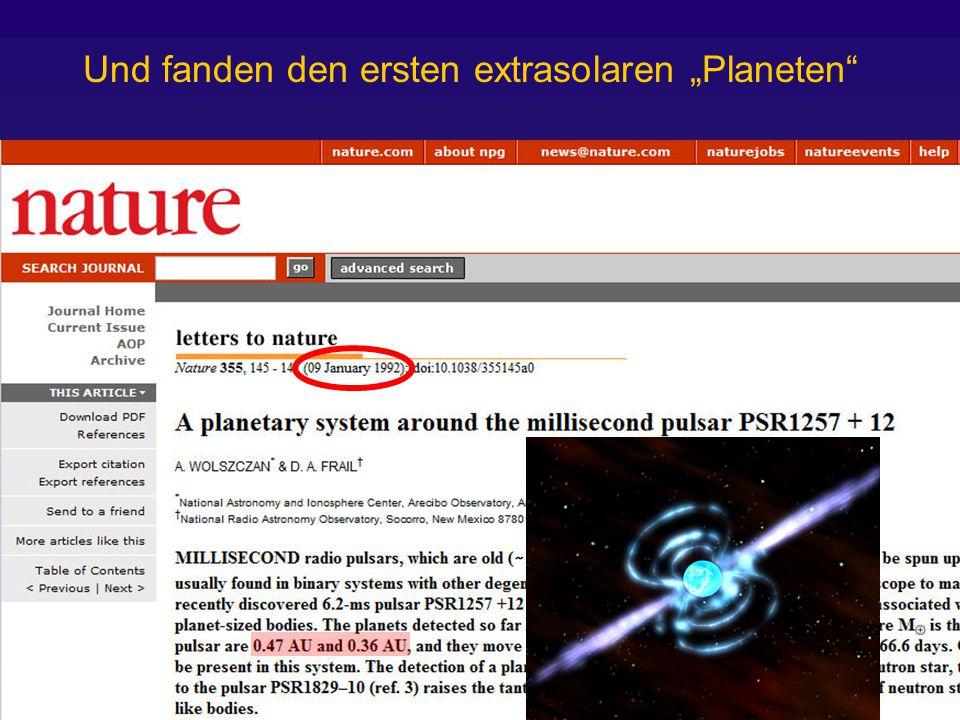 """Und fanden den ersten extrasolaren """"Planeten"""