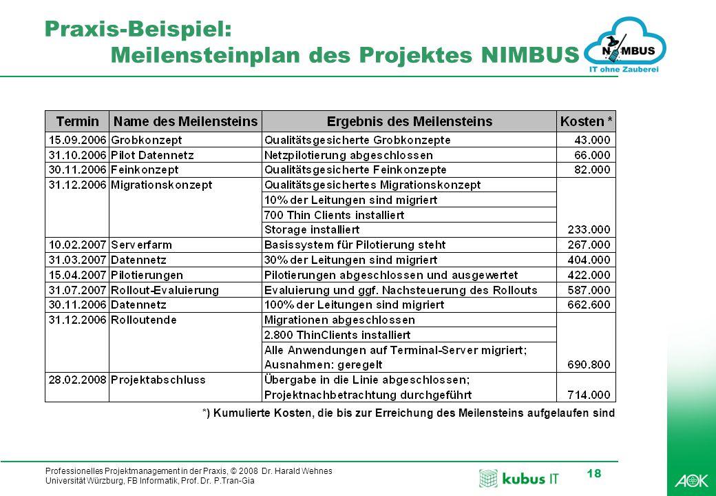 Praxis-Beispiel: Meilensteinplan des Projektes NIMBUS
