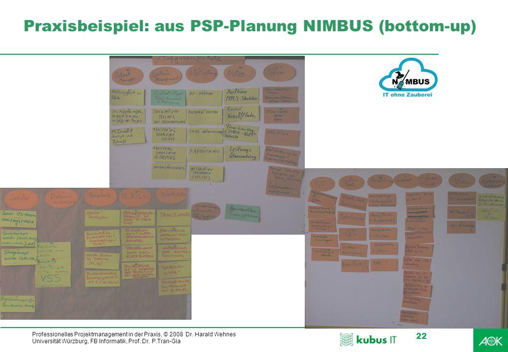 Praxisbeispiel: aus PSP-Planung NIMBUS (bottom-up)