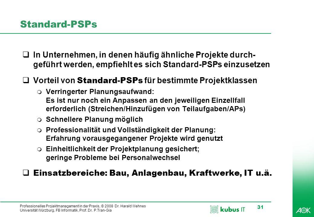 Standard-PSPs In Unternehmen, in denen häufig ähnliche Projekte durch-geführt werden, empfiehlt es sich Standard-PSPs einzusetzen.